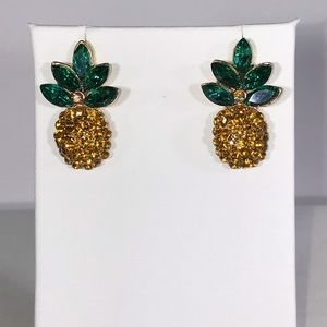 Sparkly Pineapple Crystal Earrings Medium Size